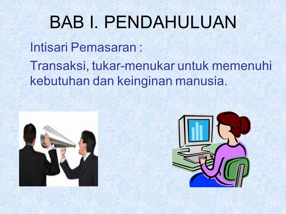 BAB I. PENDAHULUAN Intisari Pemasaran :