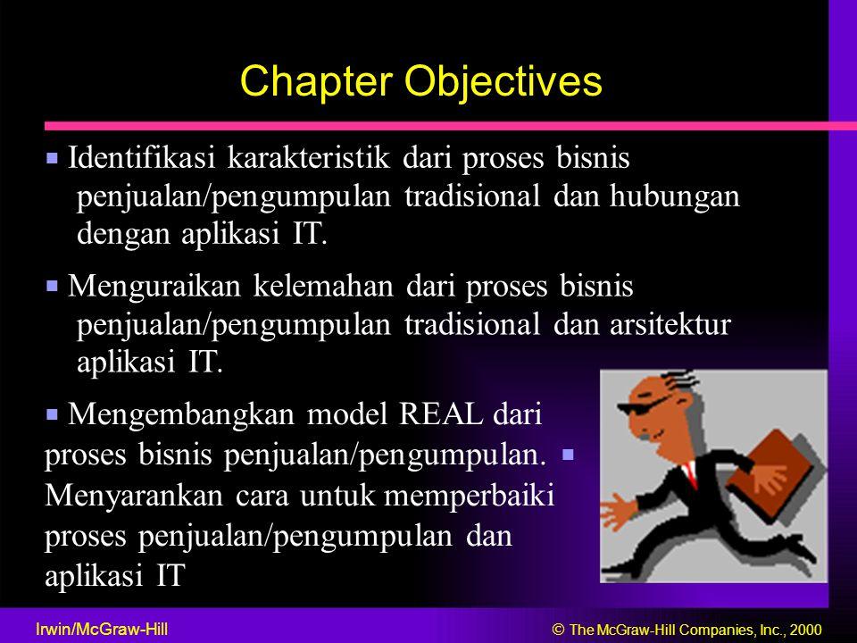 Chapter Objectives ■ Identifikasi karakteristik dari proses bisnis penjualan/pengumpulan tradisional dan hubungan dengan aplikasi IT.