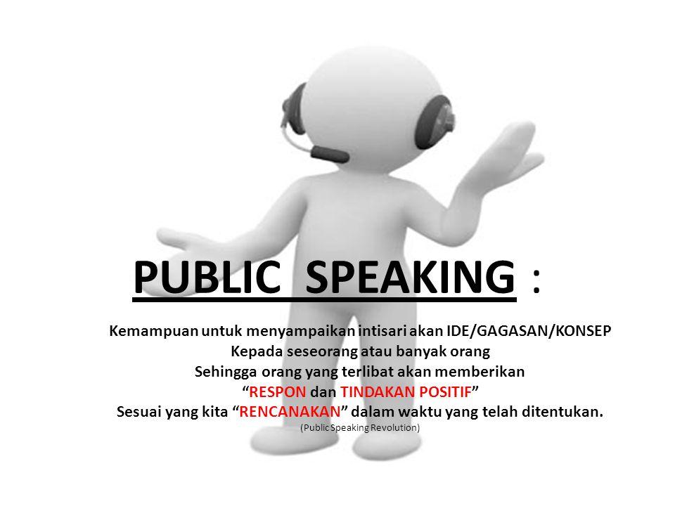 PUBLIC SPEAKING : Kemampuan untuk menyampaikan intisari akan IDE/GAGASAN/KONSEP. Kepada seseorang atau banyak orang.