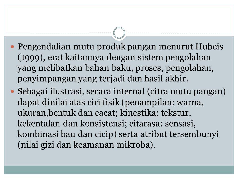 Pengendalian mutu produk pangan menurut Hubeis (1999), erat kaitannya dengan sistem pengolahan yang melibatkan bahan baku, proses, pengolahan, penyimpangan yang terjadi dan hasil akhir.