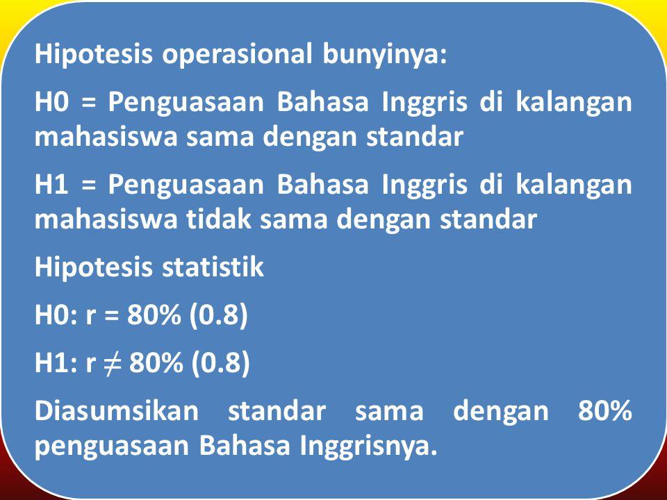 Hipotesis operasional bunyinya: