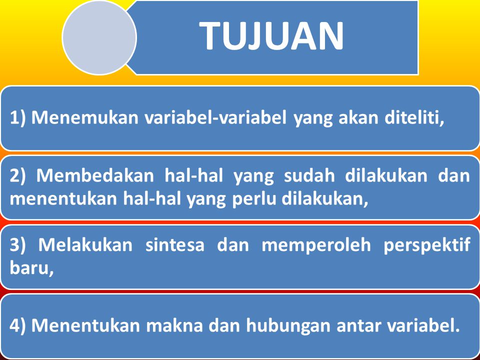 TUJUAN 1) Menemukan variabel-variabel yang akan diteliti, 2) Membedakan hal-hal yang sudah dilakukan dan menentukan hal-hal yang perlu dilakukan,
