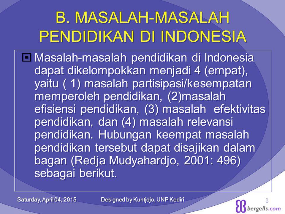 B. MASALAH-MASALAH PENDIDIKAN DI INDONESIA