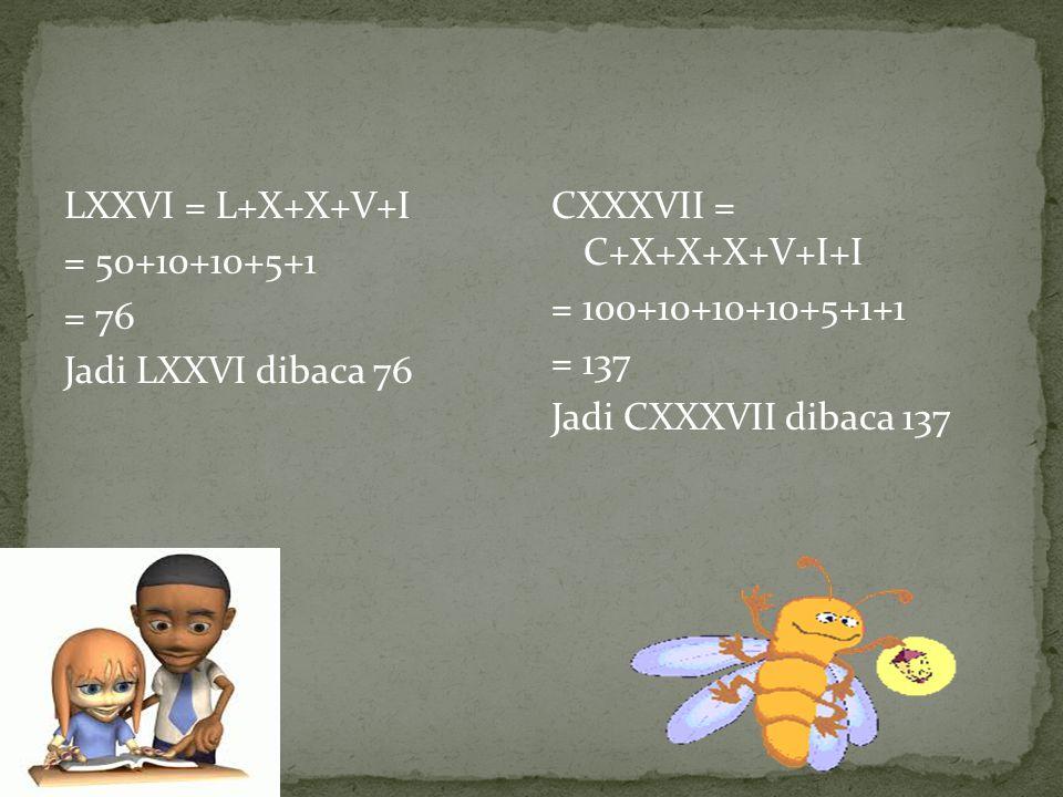 LXXVI = L+X+X+V+I = 50+10+10+5+1. = 76. Jadi LXXVI dibaca 76. CXXXVII = C+X+X+X+V+I+I. = 100+10+10+10+5+1+1.