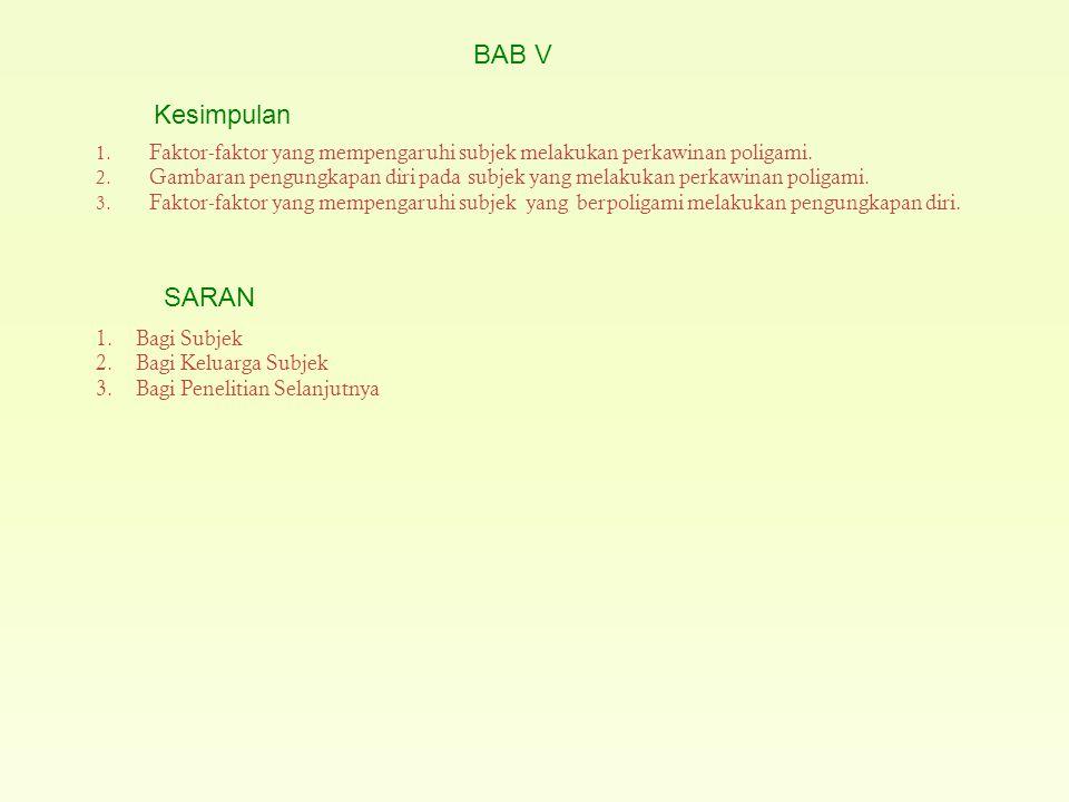 BAB V Kesimpulan. Faktor-faktor yang mempengaruhi subjek melakukan perkawinan poligami.
