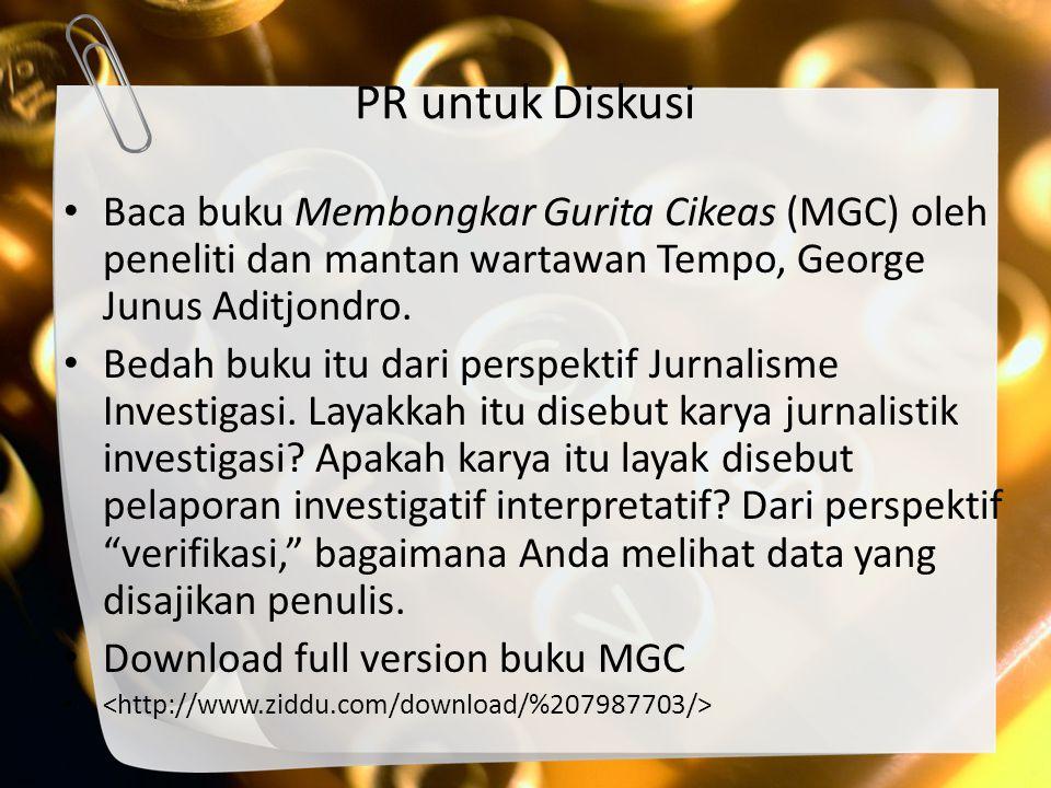 PR untuk Diskusi Baca buku Membongkar Gurita Cikeas (MGC) oleh peneliti dan mantan wartawan Tempo, George Junus Aditjondro.