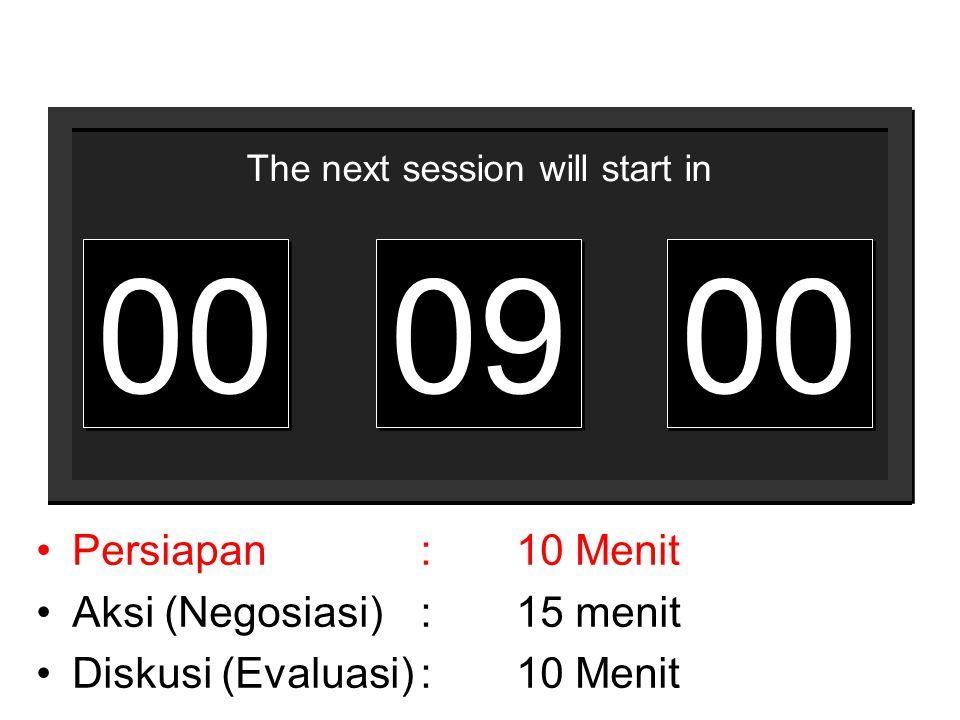 00 09 Persiapan : 10 Menit Aksi (Negosiasi) : 15 menit