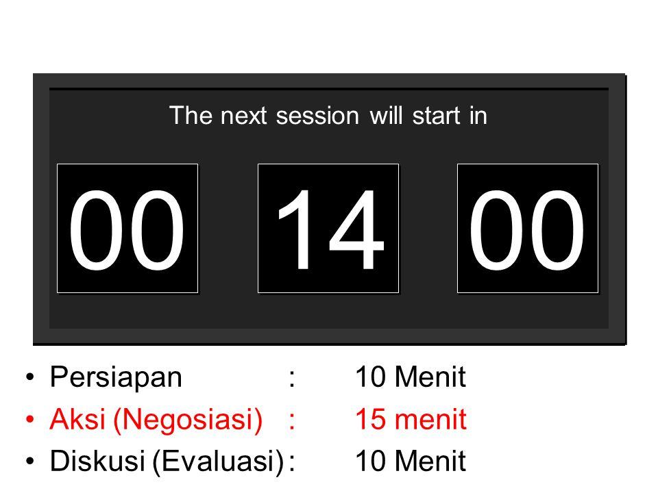 00 14 Persiapan : 10 Menit Aksi (Negosiasi) : 15 menit