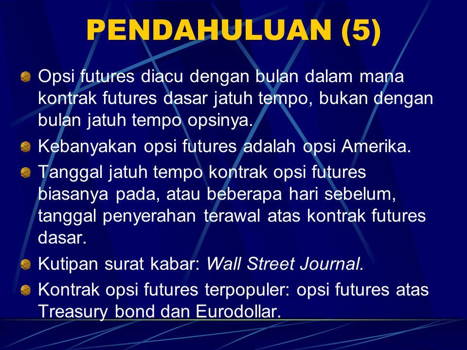 PENDAHULUAN (5) Opsi futures diacu dengan bulan dalam mana kontrak futures dasar jatuh tempo, bukan dengan bulan jatuh tempo opsinya.