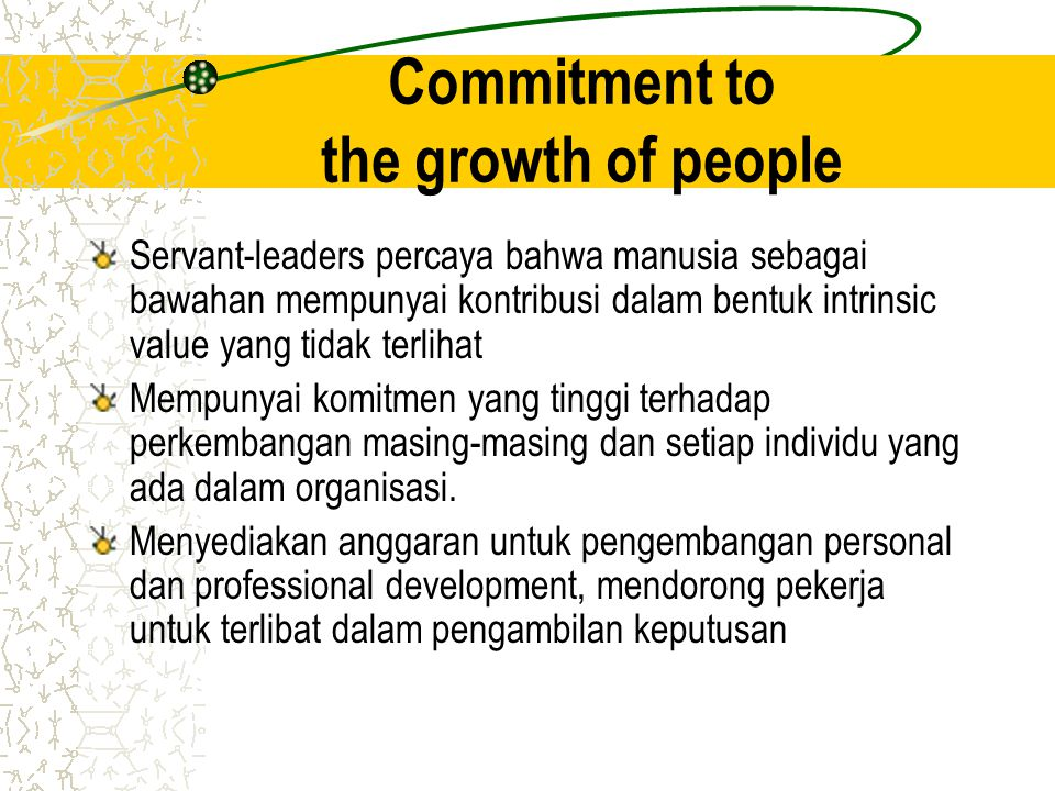 Commitment to the growth of people