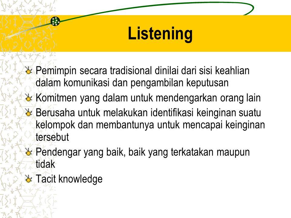 Listening Pemimpin secara tradisional dinilai dari sisi keahlian dalam komunikasi dan pengambilan keputusan.