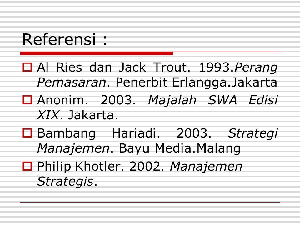 Referensi : Al Ries dan Jack Trout. 1993.Perang Pemasaran. Penerbit Erlangga.Jakarta. Anonim. 2003. Majalah SWA Edisi XIX. Jakarta.