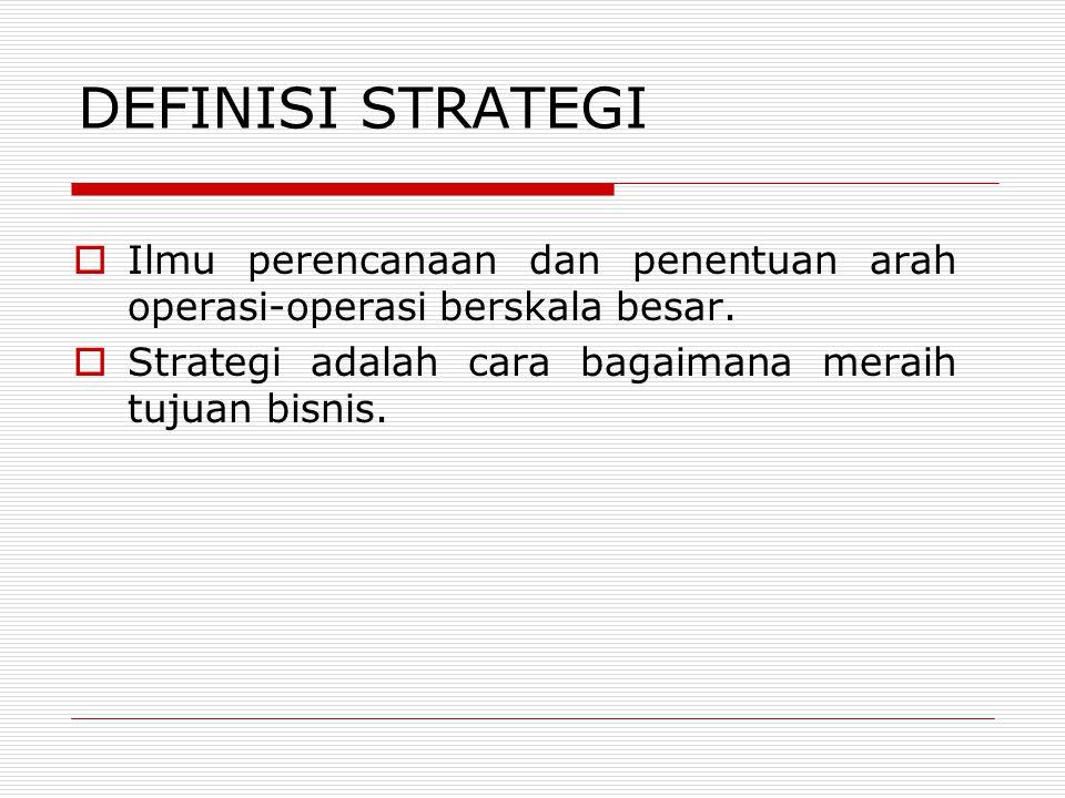 DEFINISI STRATEGI Ilmu perencanaan dan penentuan arah operasi-operasi berskala besar.
