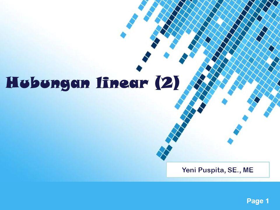 Hubungan linear (2) Yeni Puspita, SE., ME