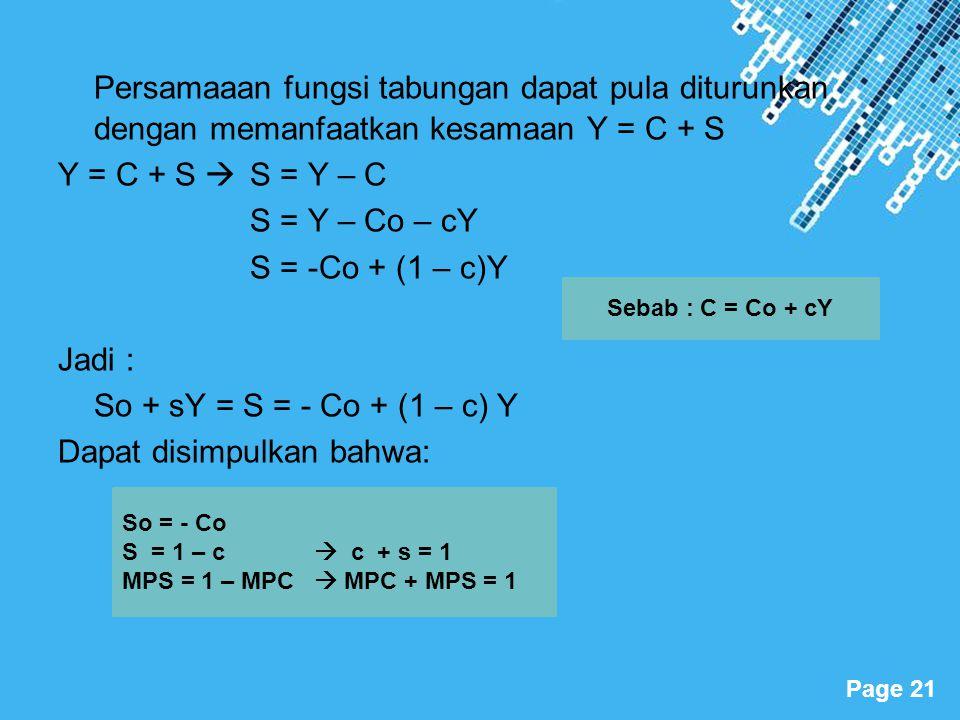 Persamaaan fungsi tabungan dapat pula diturunkan dengan memanfaatkan kesamaan Y = C + S
