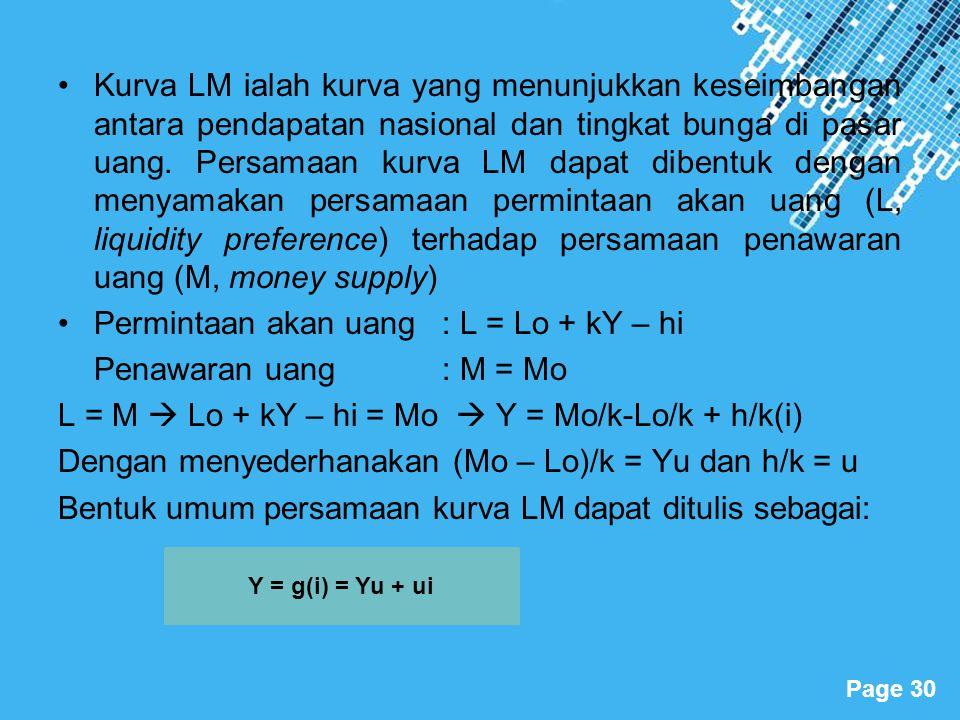 Permintaan akan uang : L = Lo + kY – hi Penawaran uang : M = Mo