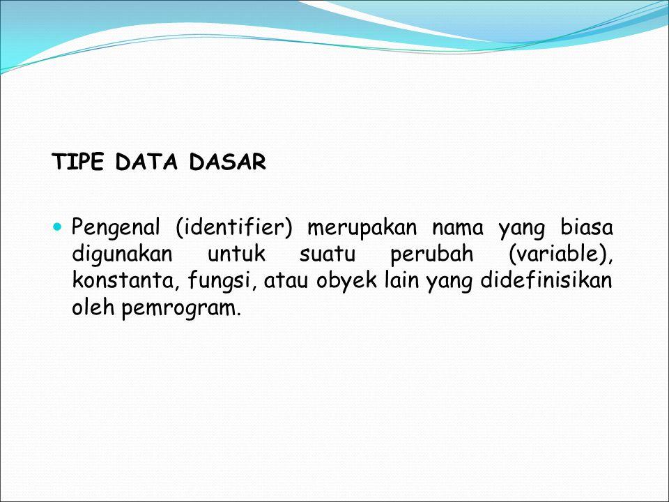 TIPE DATA DASAR