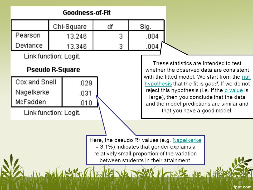 These statistics are intended to test whether the observed data are consistent with the fitted model. We start from the null hypothesis that the fit is good. If we do not reject this hypothesis (i.e. if the p value is large), then you conclude that the data and the model predictions are similar and that you have a good model.