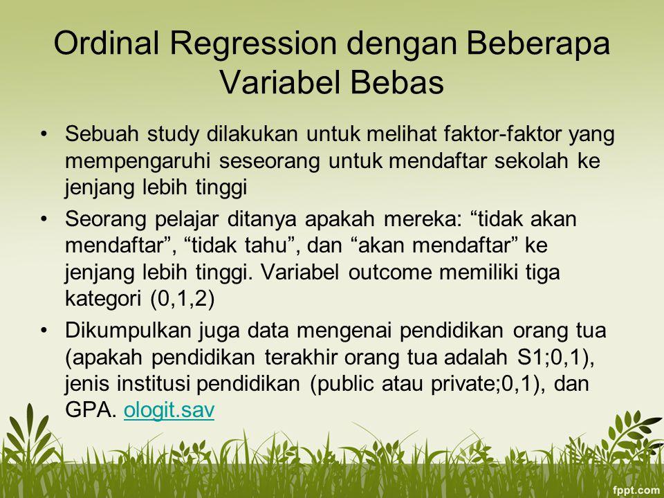 Ordinal Regression dengan Beberapa Variabel Bebas