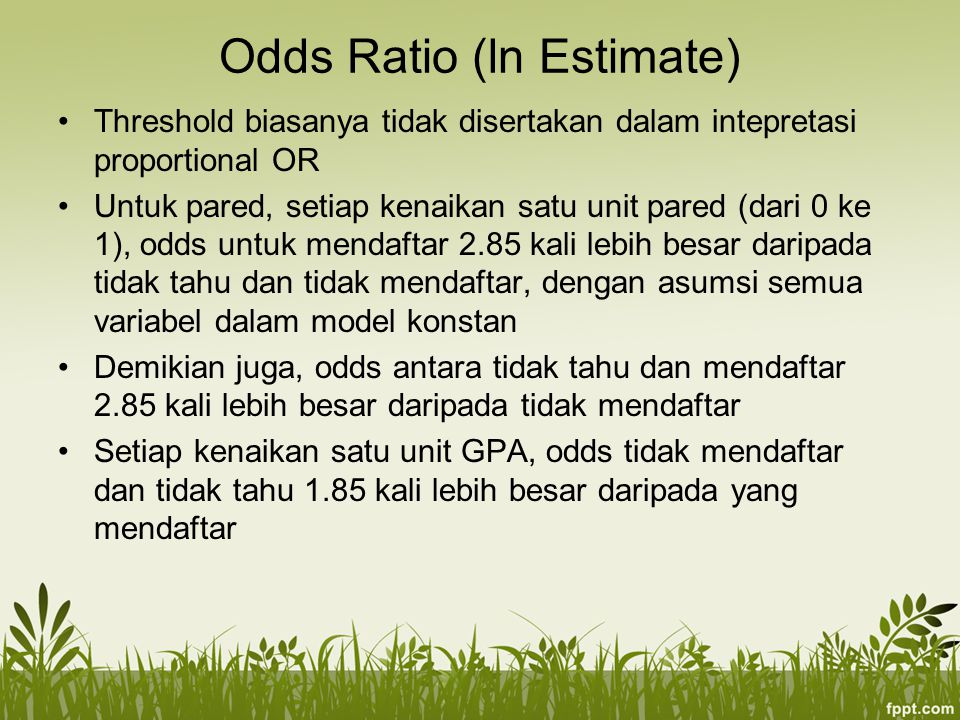 Odds Ratio (ln Estimate)