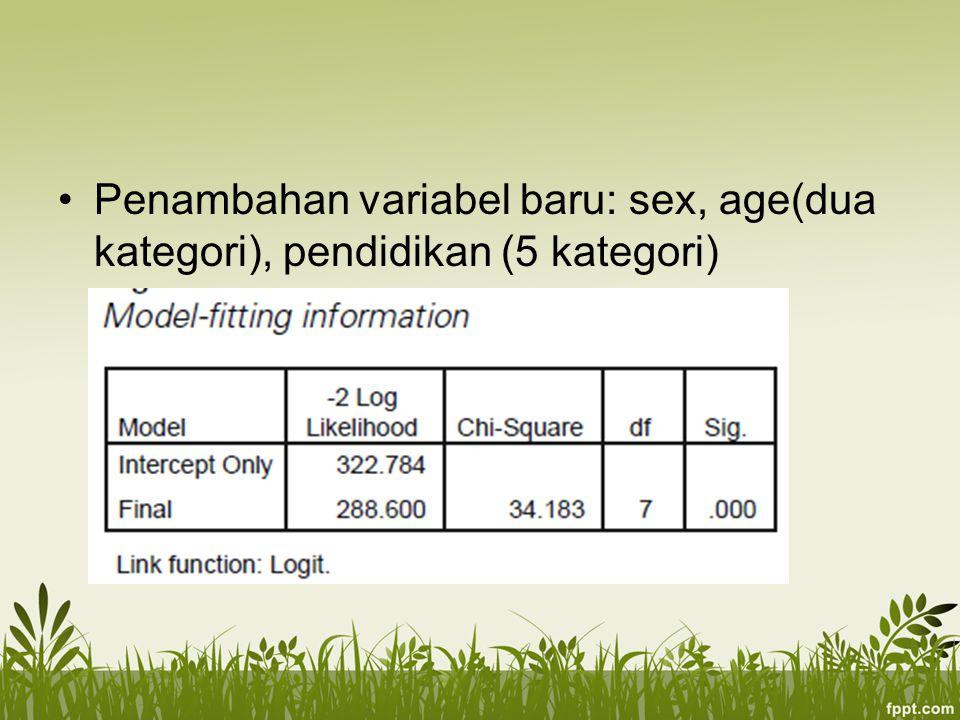 Penambahan variabel baru: sex, age(dua kategori), pendidikan (5 kategori)