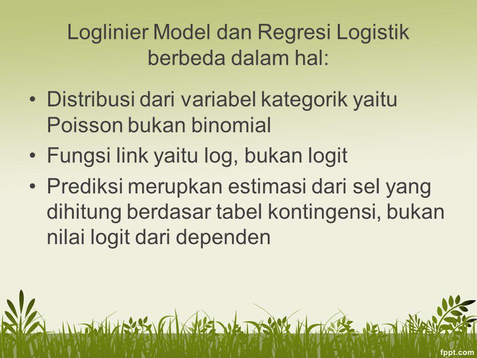 Loglinier Model dan Regresi Logistik berbeda dalam hal:
