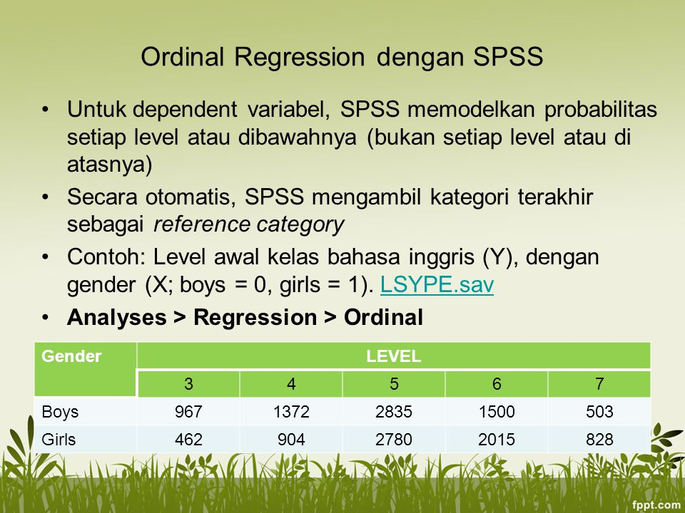 Ordinal Regression dengan SPSS