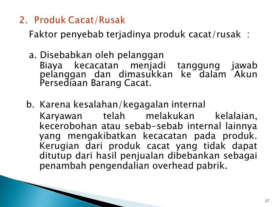 2. Produk Cacat/Rusak Faktor penyebab terjadinya produk cacat/rusak : a. Disebabkan oleh pelanggan.