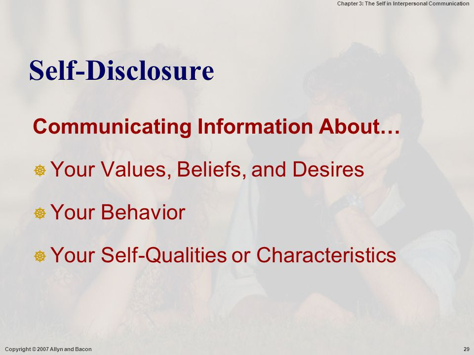 Self-Disclosure Communicating Information About…