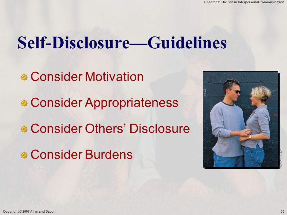 Self-Disclosure—Guidelines