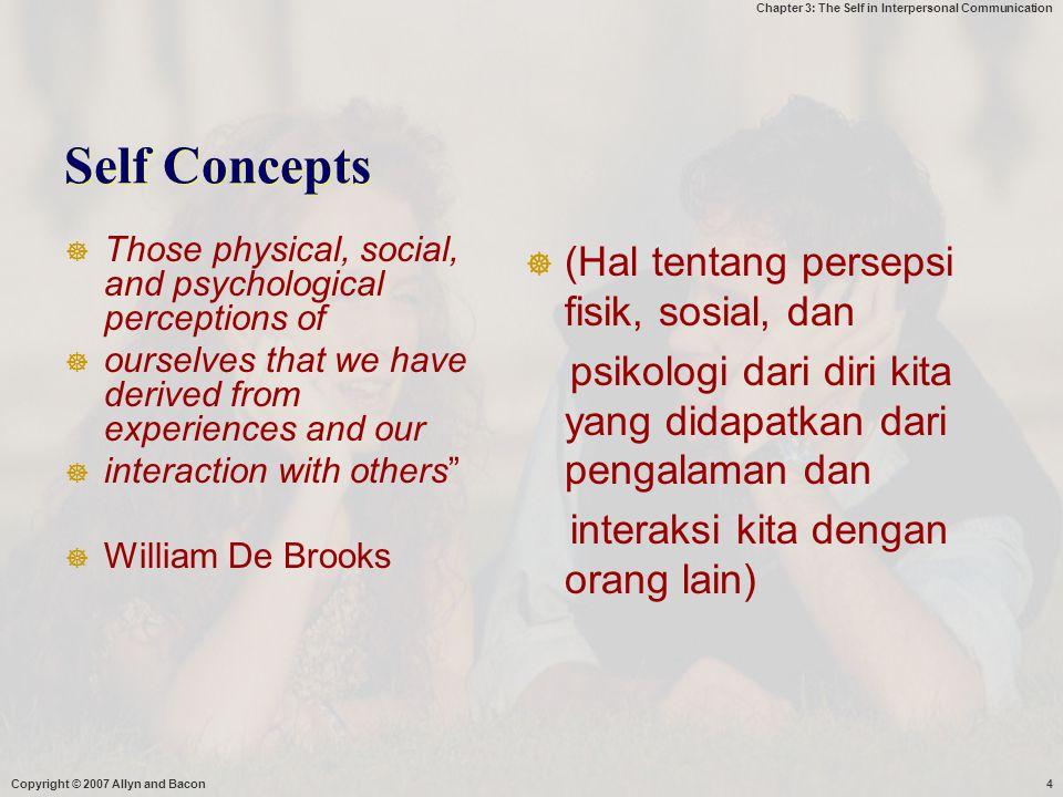 Self Concepts (Hal tentang persepsi fisik, sosial, dan