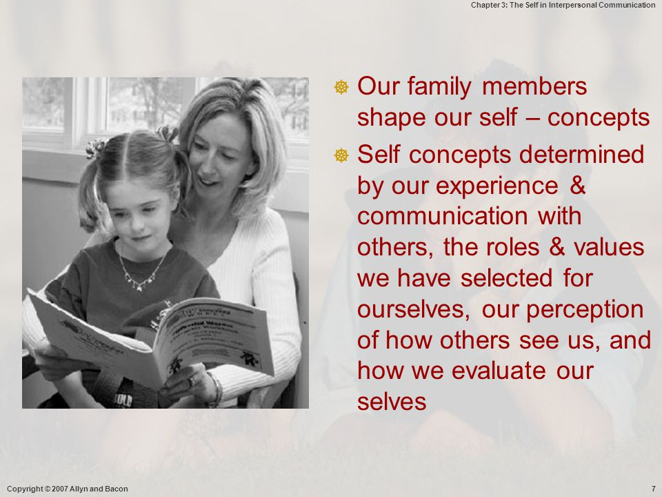 Our family members shape our self – concepts
