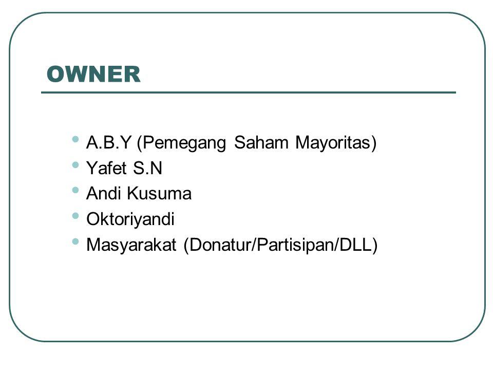 OWNER A.B.Y (Pemegang Saham Mayoritas) Yafet S.N Andi Kusuma