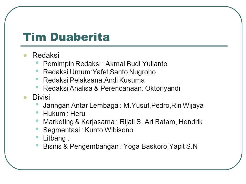 Tim Duaberita Redaksi Divisi Pemimpin Redaksi : Akmal Budi Yulianto