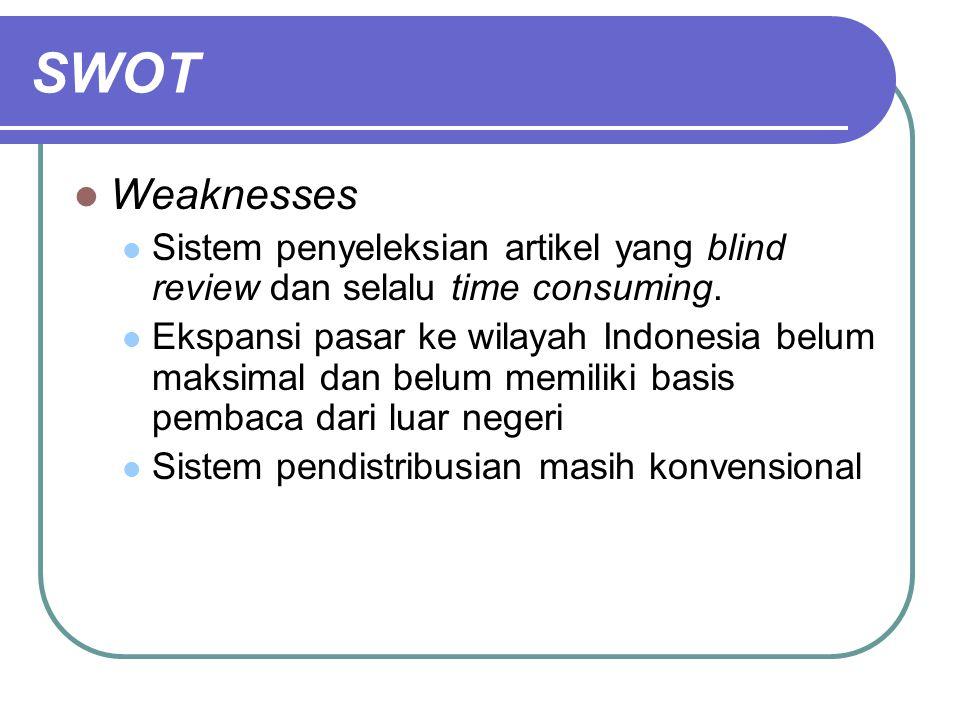 SWOT Weaknesses. Sistem penyeleksian artikel yang blind review dan selalu time consuming.