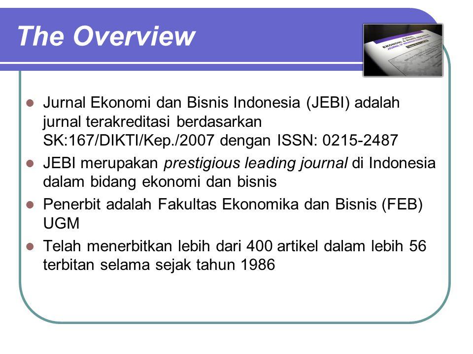 The Overview Jurnal Ekonomi dan Bisnis Indonesia (JEBI) adalah jurnal terakreditasi berdasarkan SK:167/DIKTI/Kep./2007 dengan ISSN: 0215-2487.