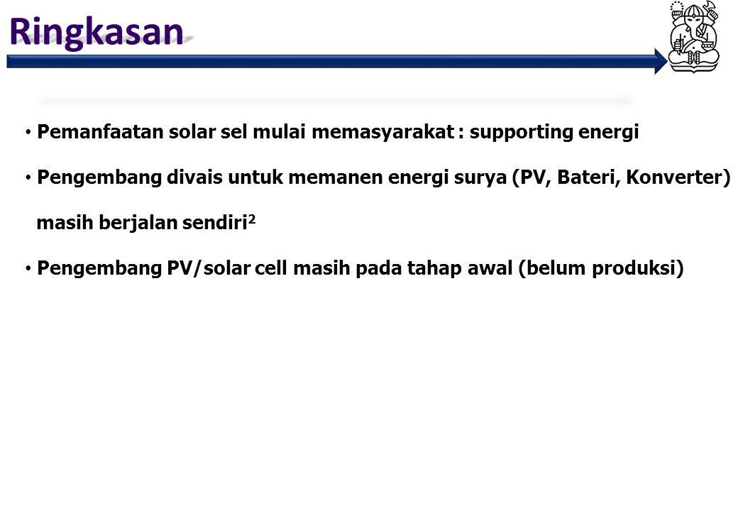 Ringkasan Pemanfaatan solar sel mulai memasyarakat : supporting energi
