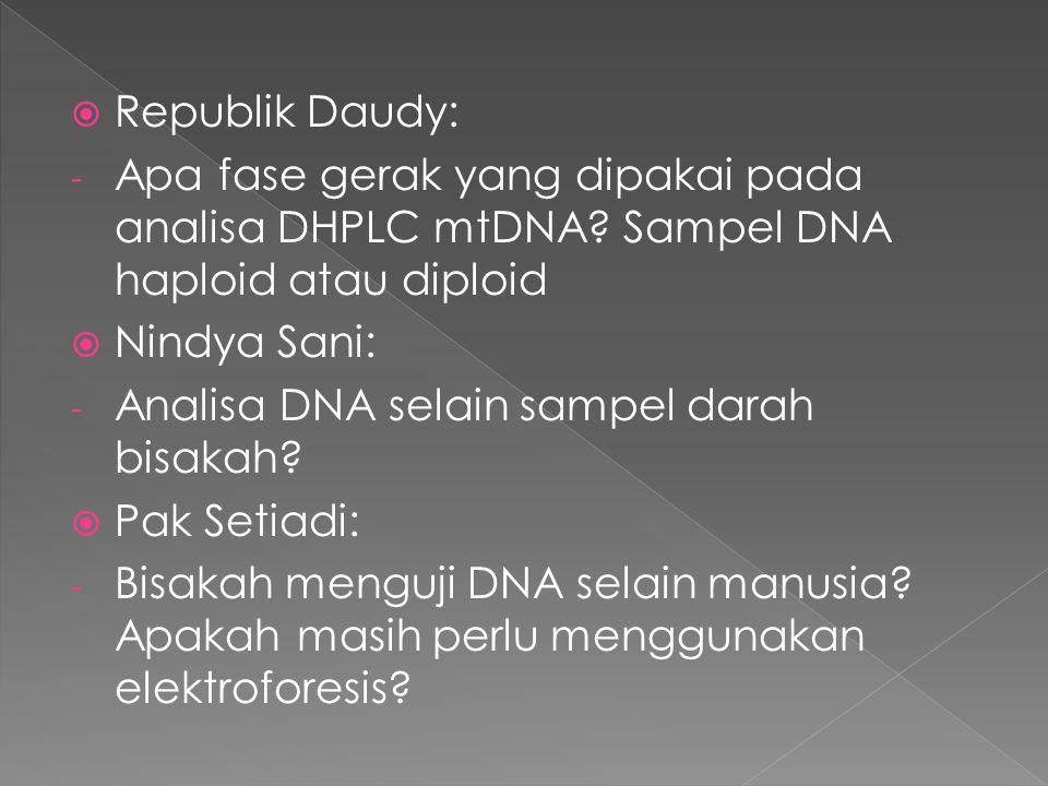 Republik Daudy: Apa fase gerak yang dipakai pada analisa DHPLC mtDNA Sampel DNA haploid atau diploid.