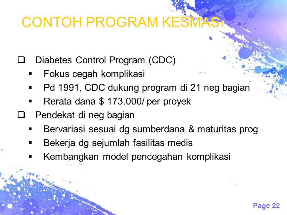 CONTOH PROGRAM KESMAS1 Diabetes Control Program (CDC)