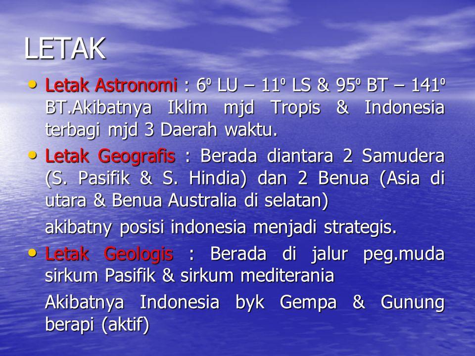 LETAK Letak Astronomi : 60 LU – 110 LS & 950 BT – 1410 BT.Akibatnya Iklim mjd Tropis & Indonesia terbagi mjd 3 Daerah waktu.