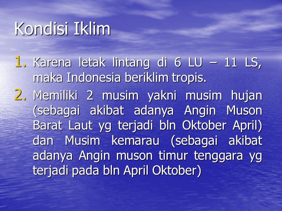 Kondisi Iklim Karena letak lintang di 6 LU – 11 LS, maka Indonesia beriklim tropis.