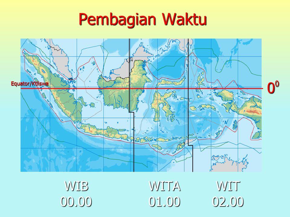 Pembagian Waktu 00 Equator/Ktliswa WIB 00.00 WITA 01.00 WIT 02.00