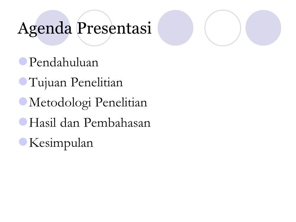 Agenda Presentasi Pendahuluan Tujuan Penelitian Metodologi Penelitian