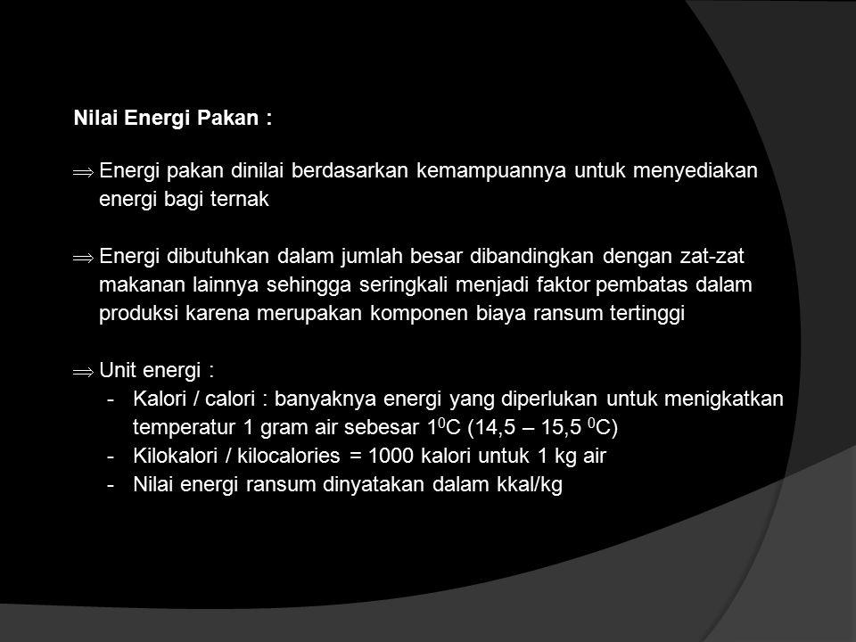 Nilai Energi Pakan : Energi pakan dinilai berdasarkan kemampuannya untuk menyediakan energi bagi ternak.