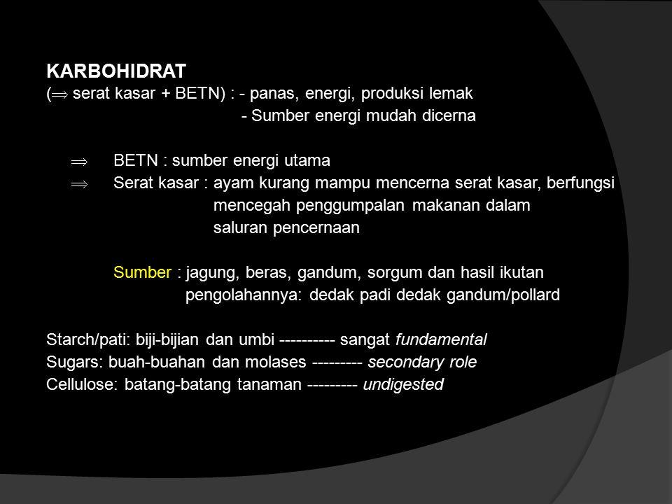KARBOHIDRAT ( serat kasar + BETN) : - panas, energi, produksi lemak