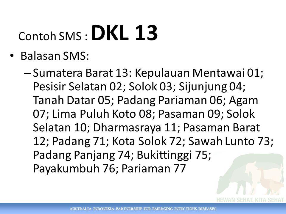 Contoh SMS : DKL 13 Balasan SMS: