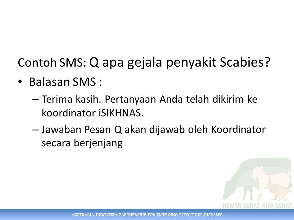 Contoh SMS: Q apa gejala penyakit Scabies Balasan SMS :