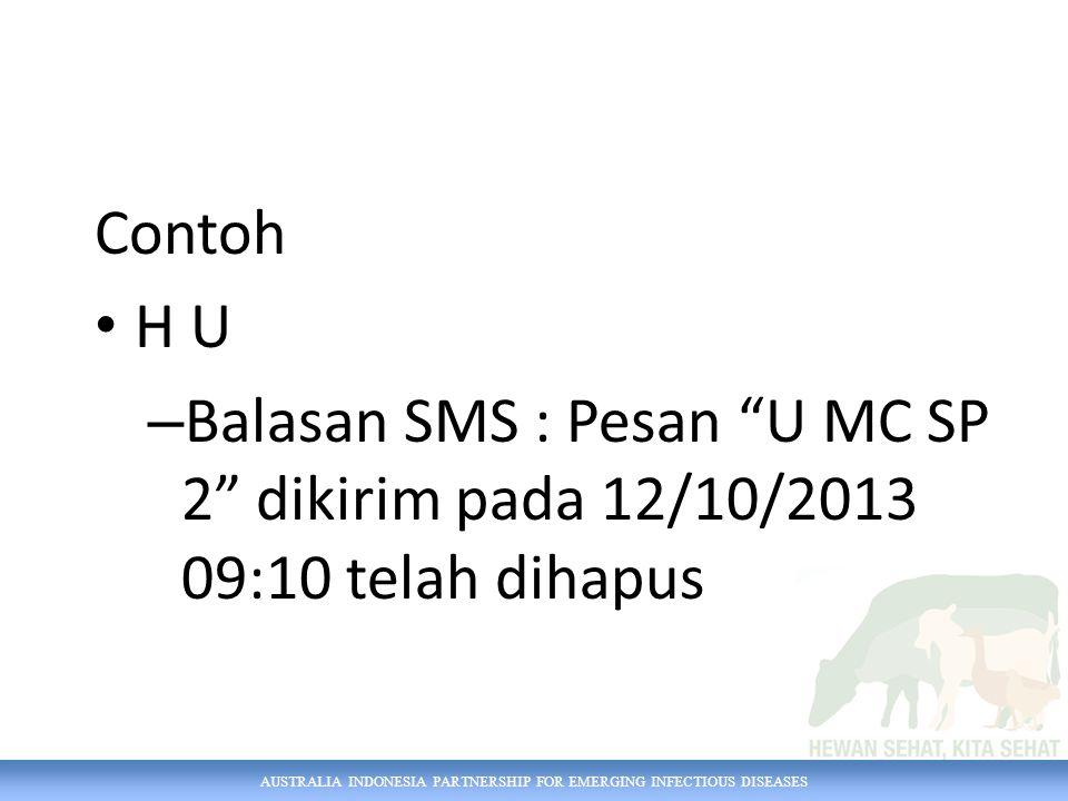 Contoh H U Balasan SMS : Pesan U MC SP 2 dikirim pada 12/10/2013 09:10 telah dihapus