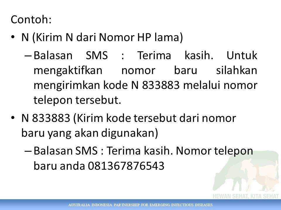 Contoh: N (Kirim N dari Nomor HP lama)