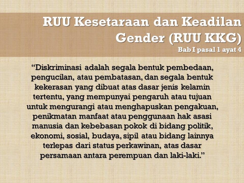 RUU Kesetaraan dan Keadilan Gender (RUU KKG) Bab I pasal 1 ayat 4